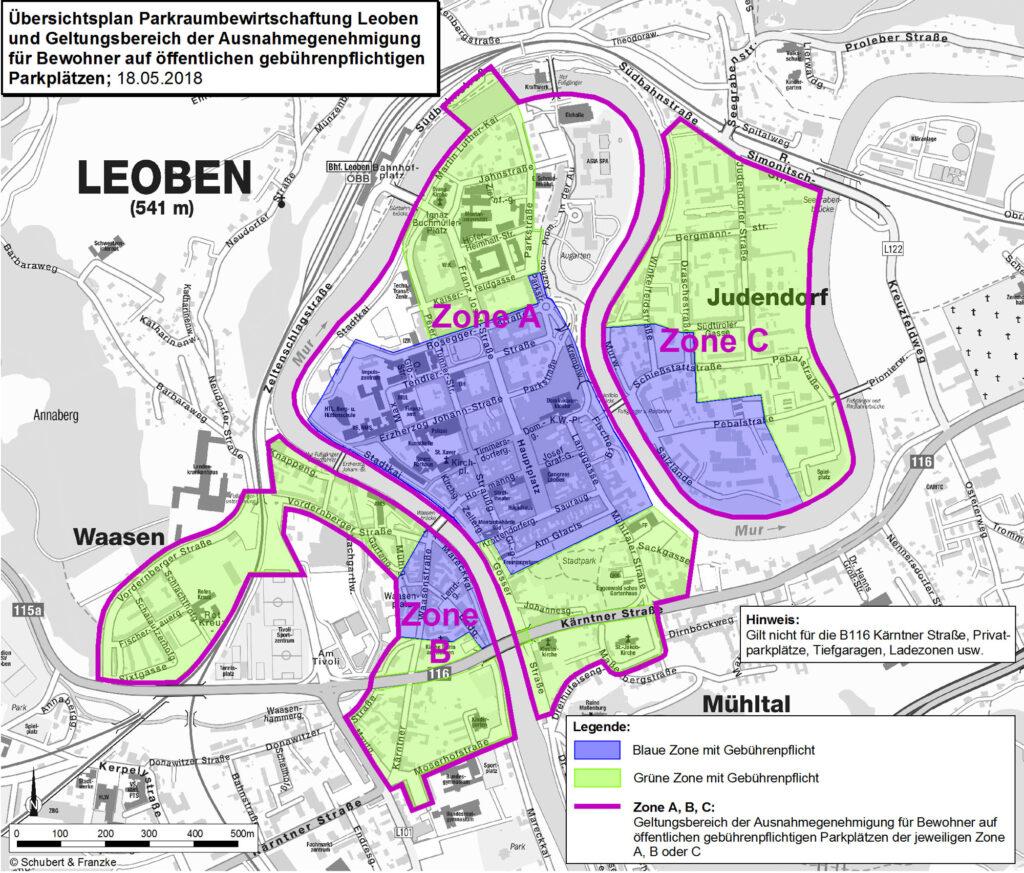 Leoben Parkraum Zonen ABC